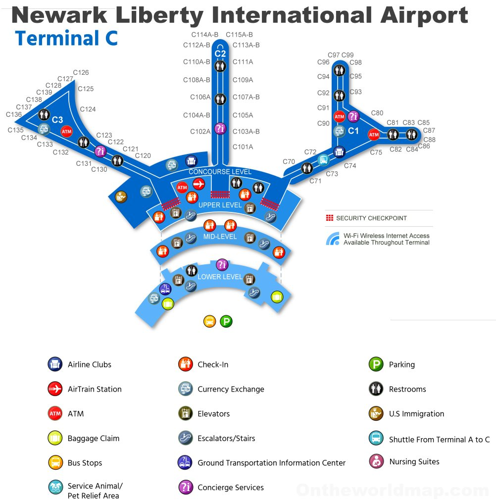 newark nj airport terminal map Newark Airport Terminal C Map newark nj airport terminal map