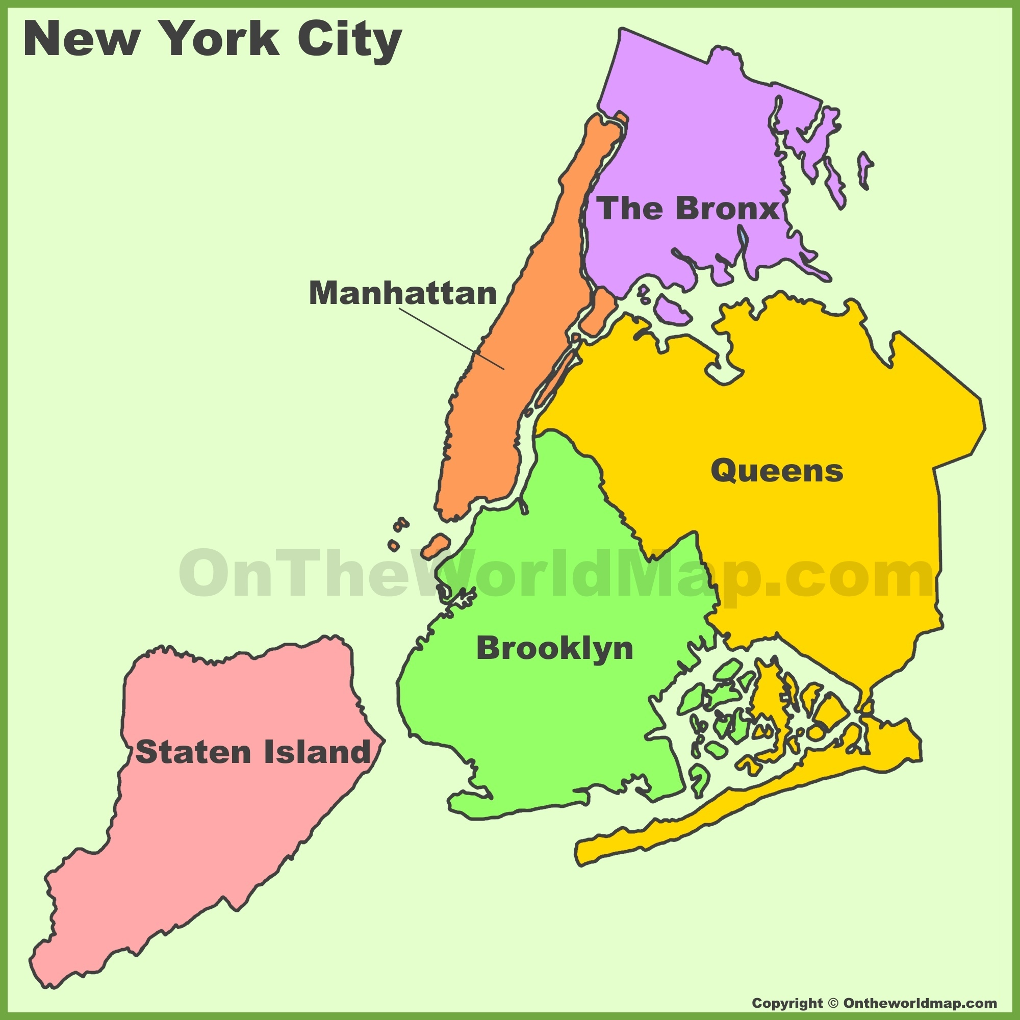 Map Of Usa New York City.New York City Boroughs Map