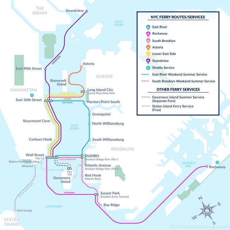 New York City ferry map