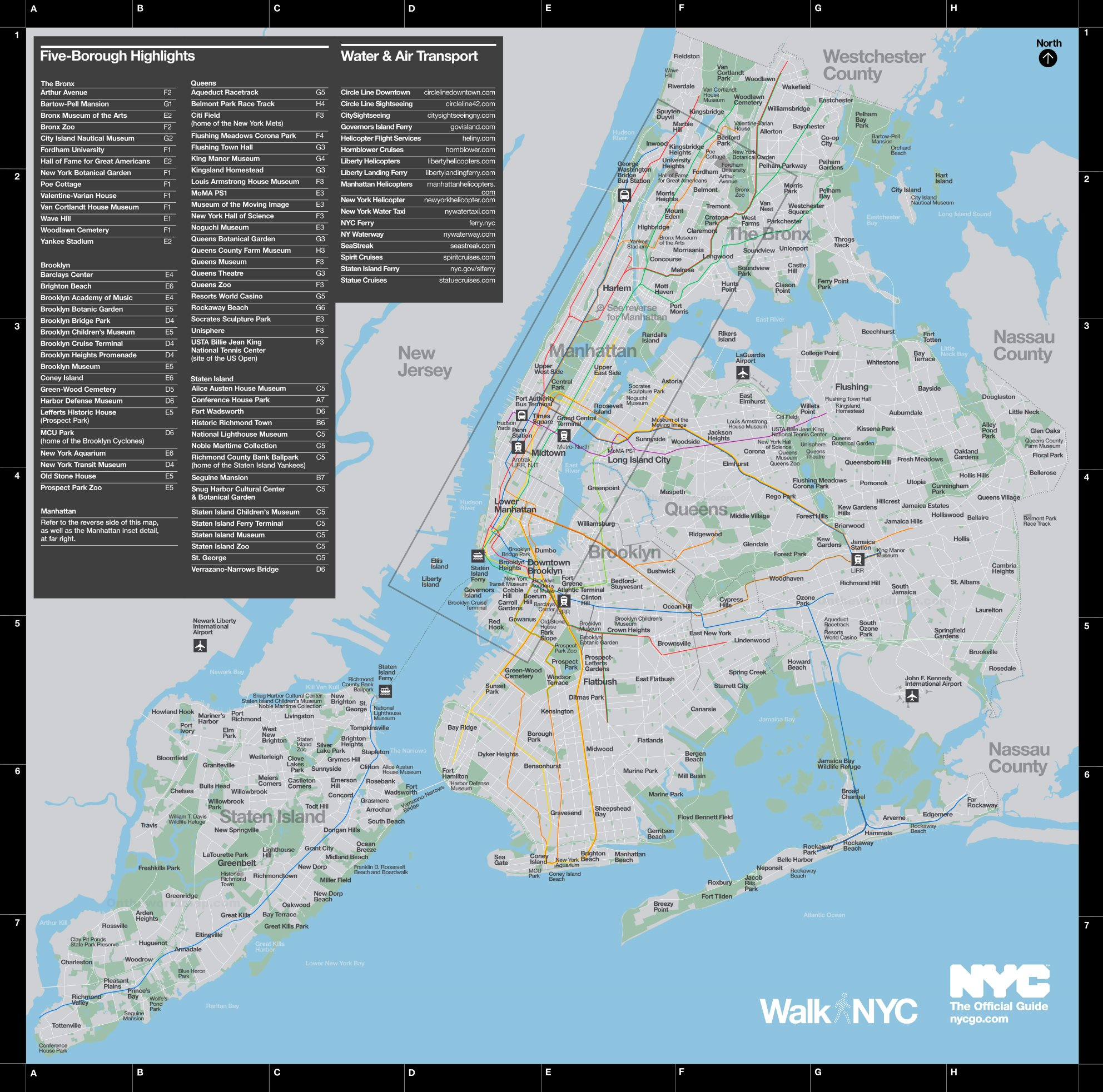 Map Of New York City Attractions.New York City Neighborhoods And Main Attractions Map