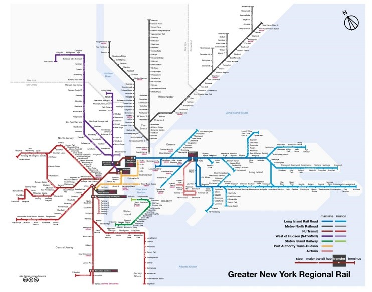 New York City rail map