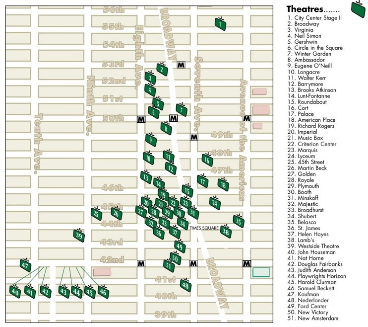 New York theatre district map