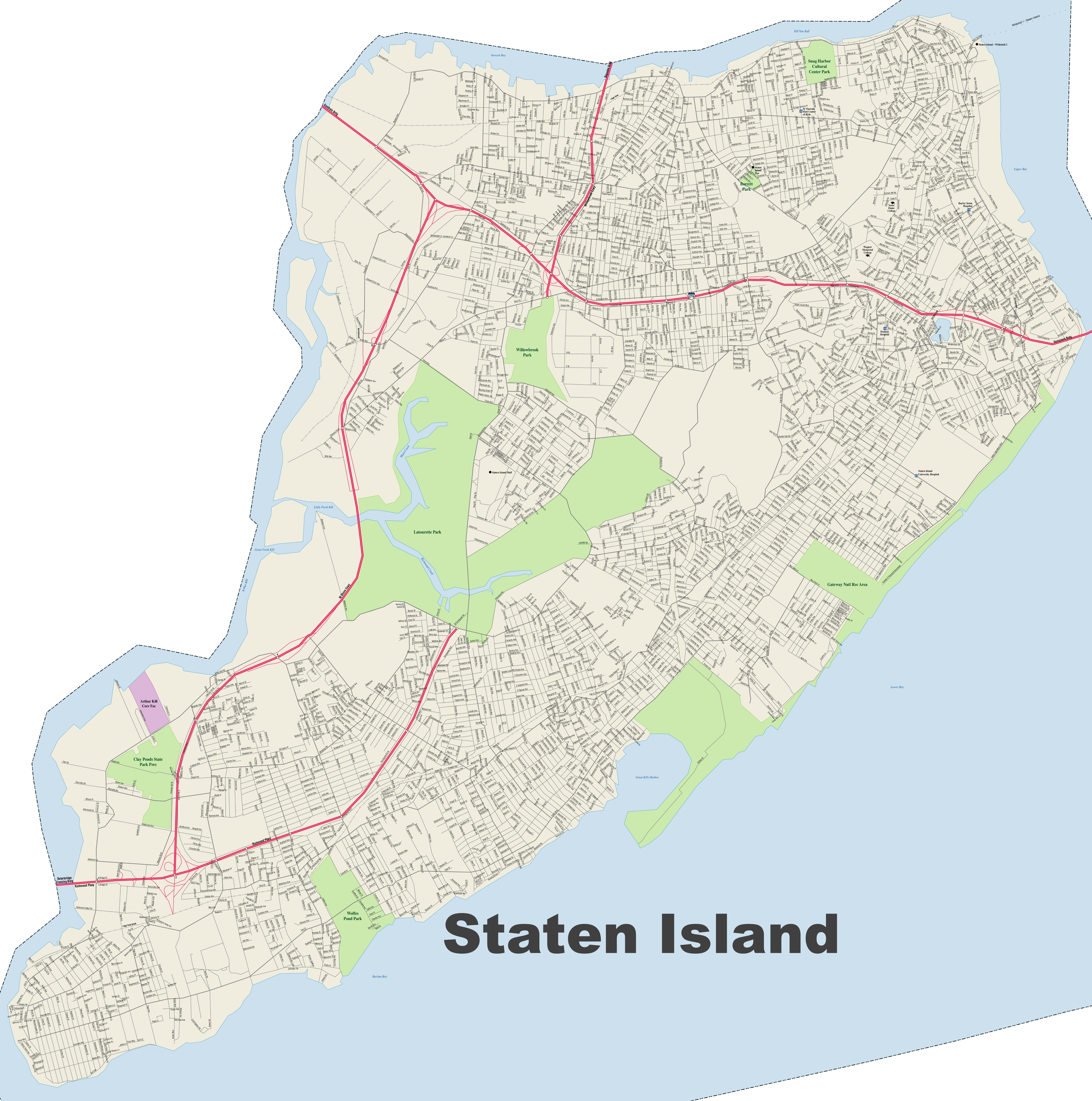 Map Of New York Islands.Staten Island Street Map