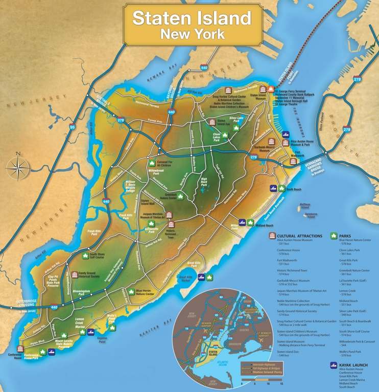 Staten Island tourist map