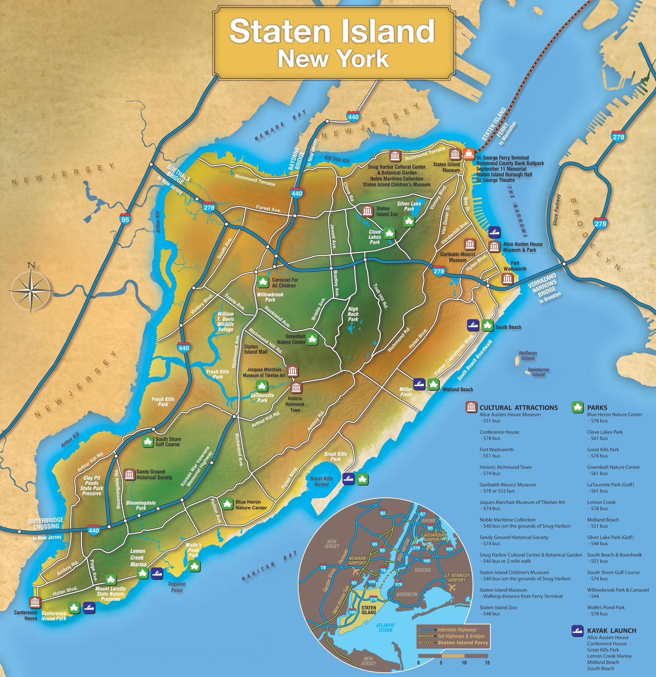 Staten Island Map Staten Island tourist map Staten Island Map