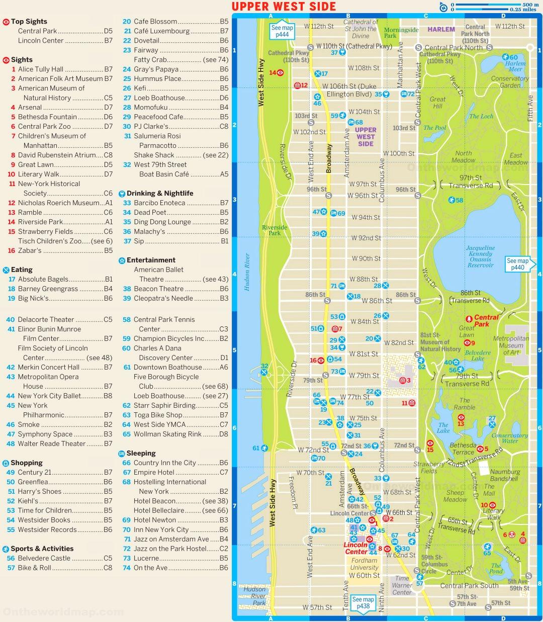 upper west side new york map Upper West Side Tourist Map