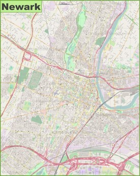 Large detailed map of Newark