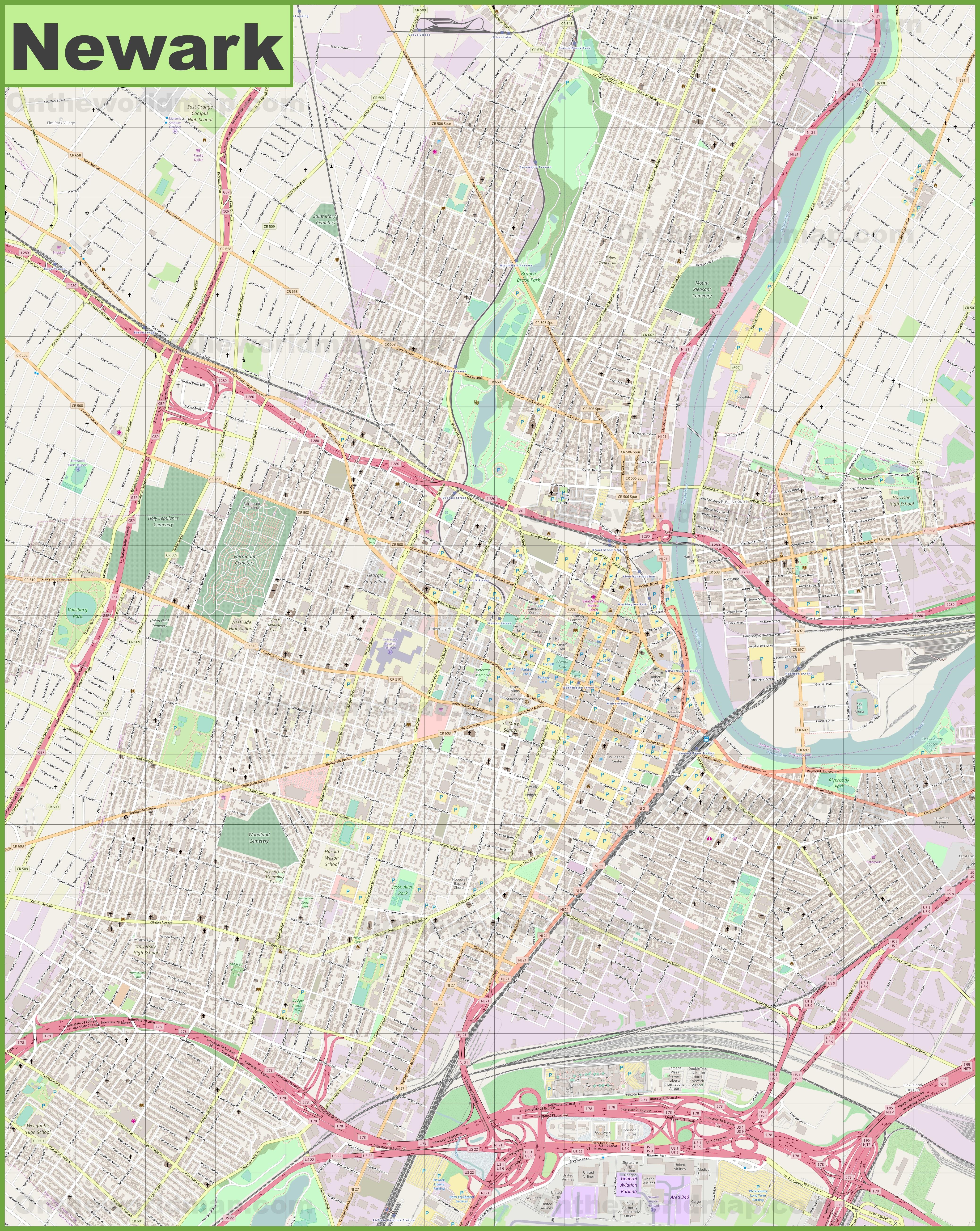 Newark Maps New Jersey US Maps of Newark