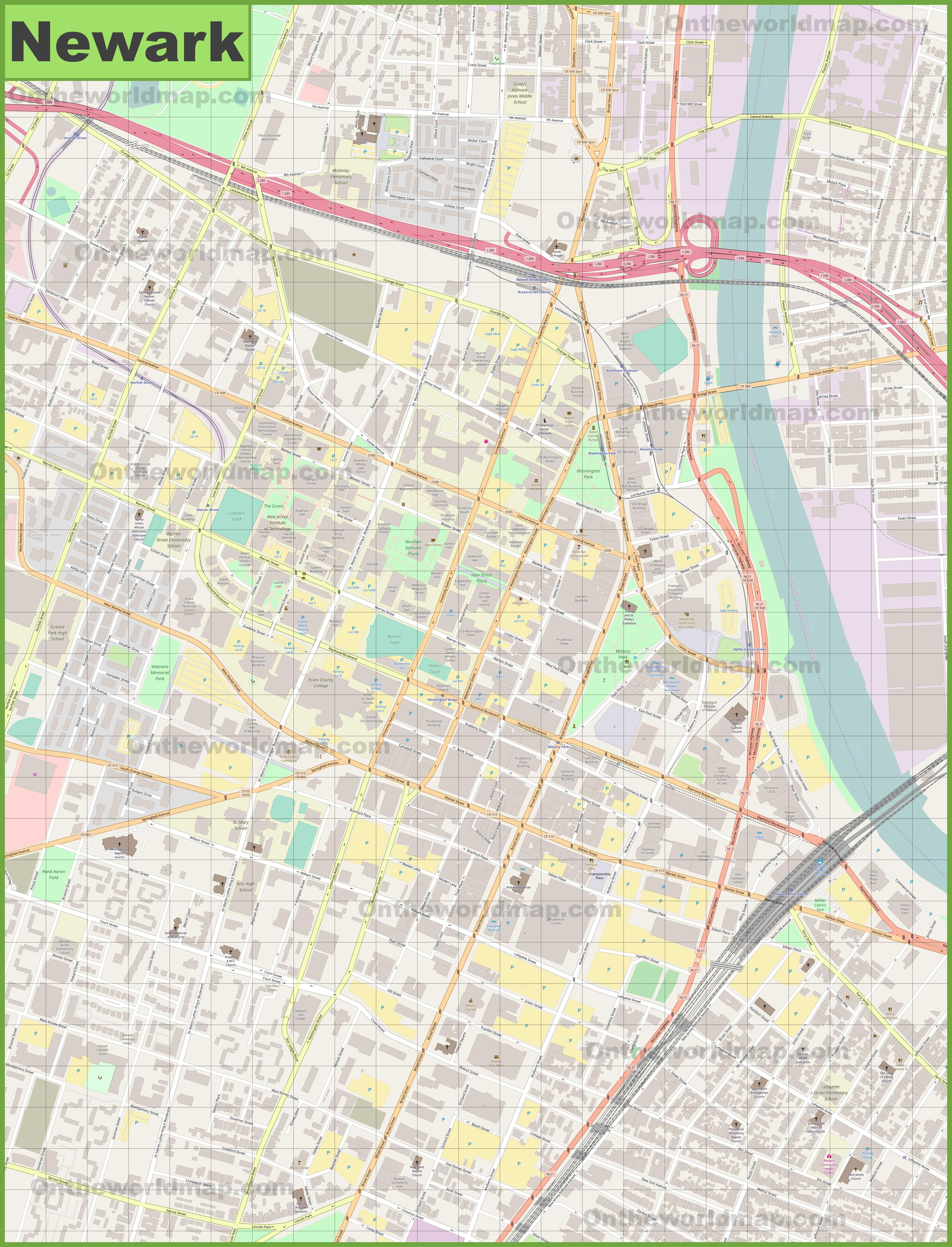 Newark downtown map