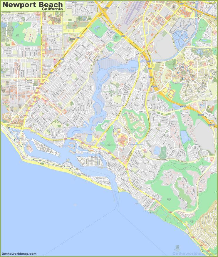 Detailed Map of Newport Beach