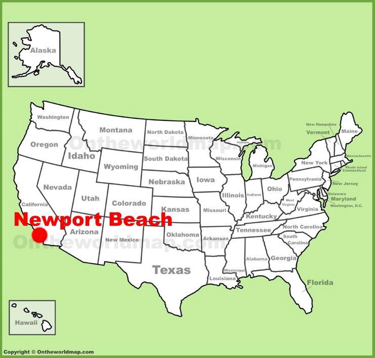 Newport Beach location on the U.S. Map