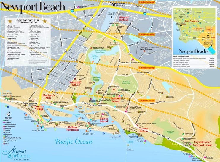 Newport Beach Sightseeing Map