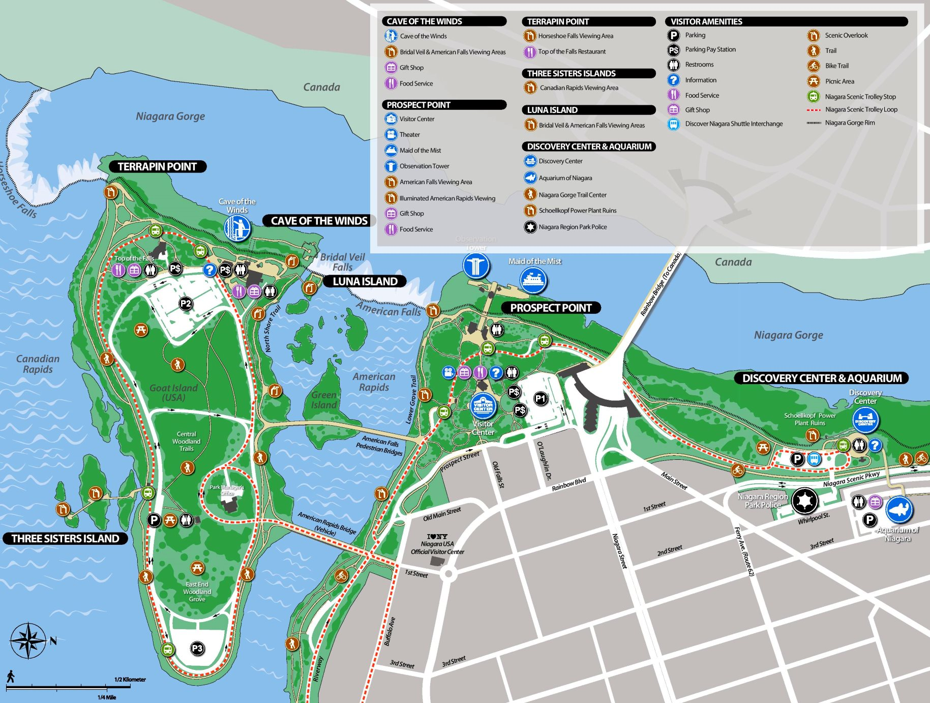 niagara falls tourism map Niagara Falls State Park Tourist Map niagara falls tourism map