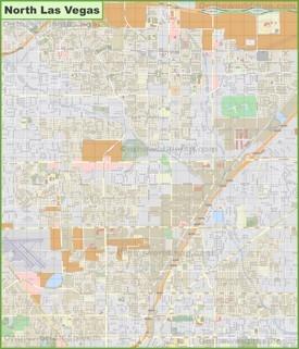 Large detailed map of North Las Vegas