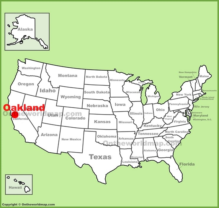 Oakland location on the U.S. Map