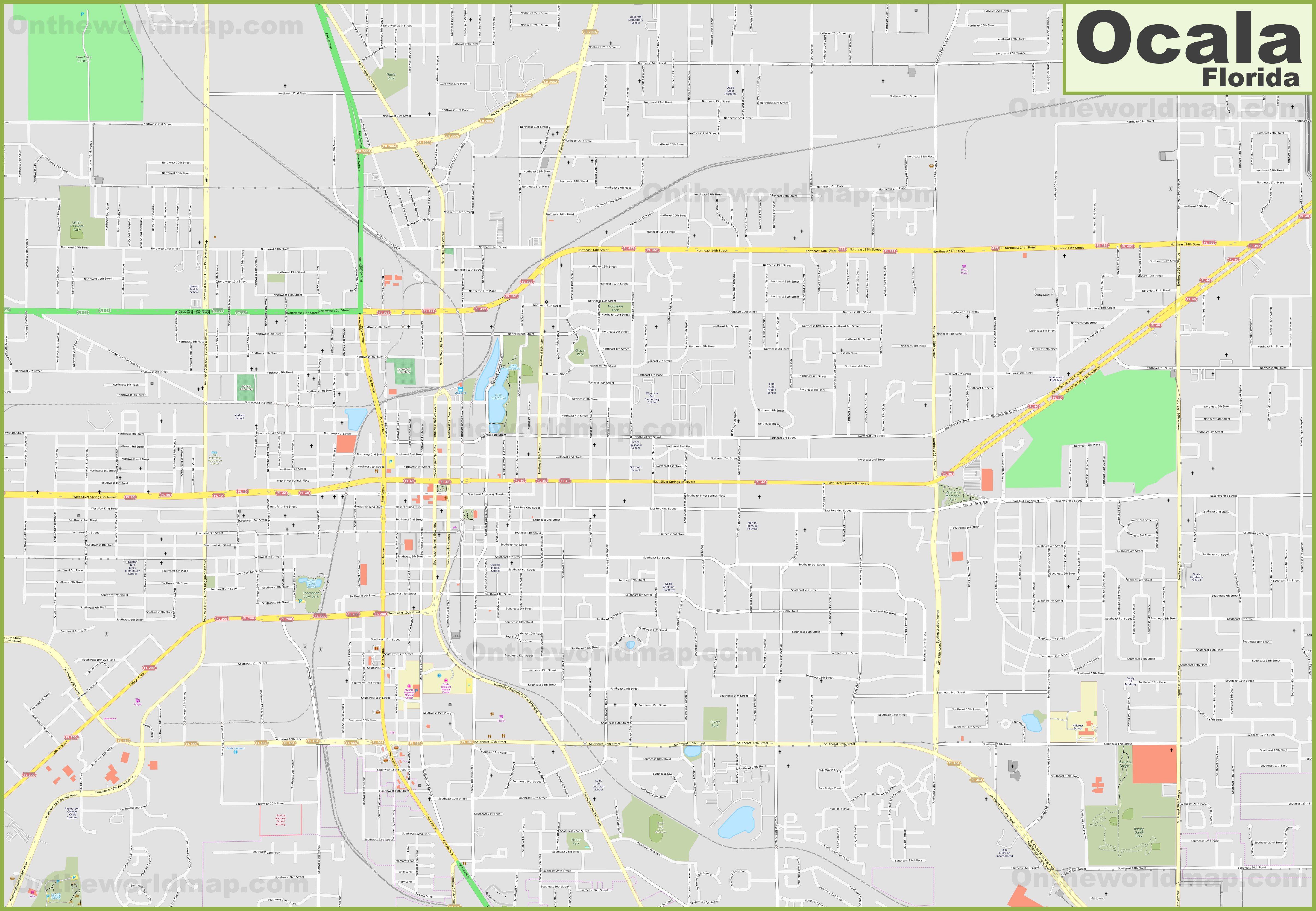 Map Of Ocala Florida.Large Detailed Map Of Ocala