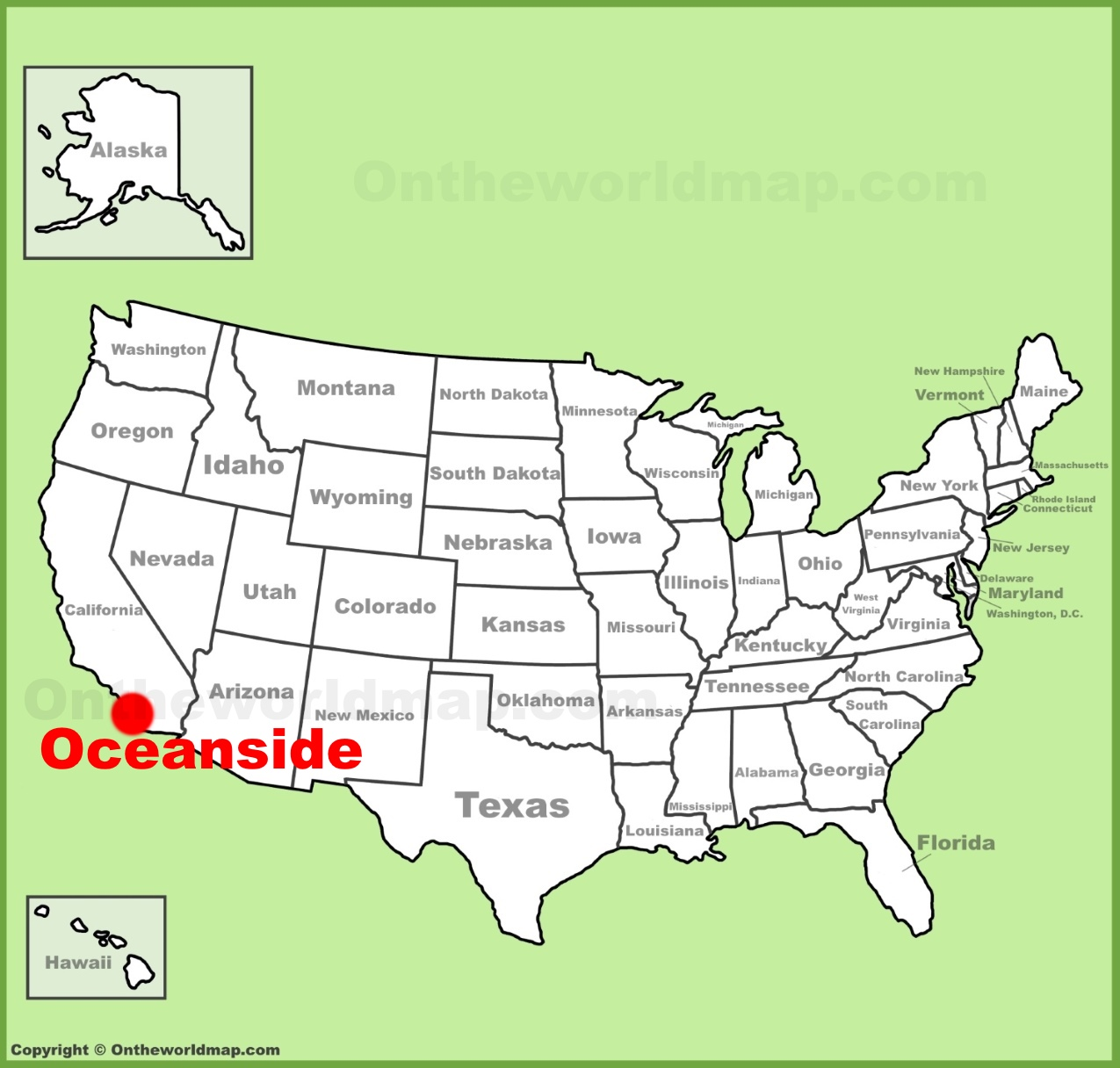 Oceanside location on the US Map