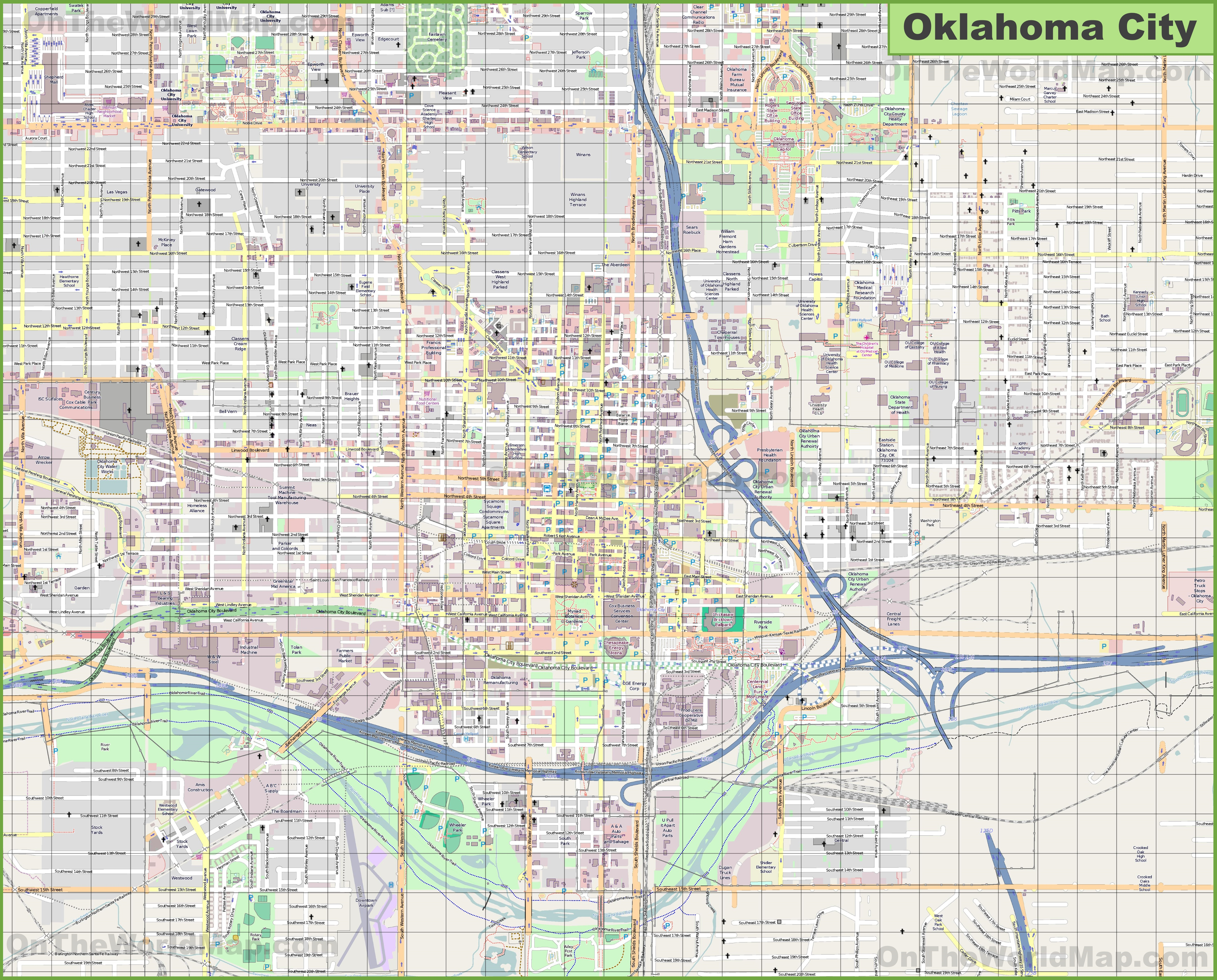 Map Of Okc Large detailed map of Oklahoma City