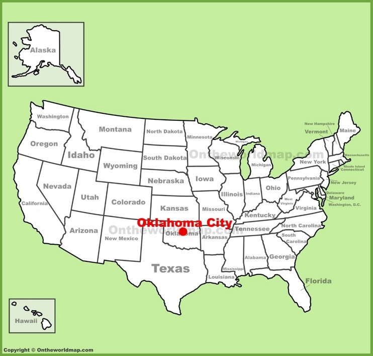 Oklahoma City location on the U.S. Map
