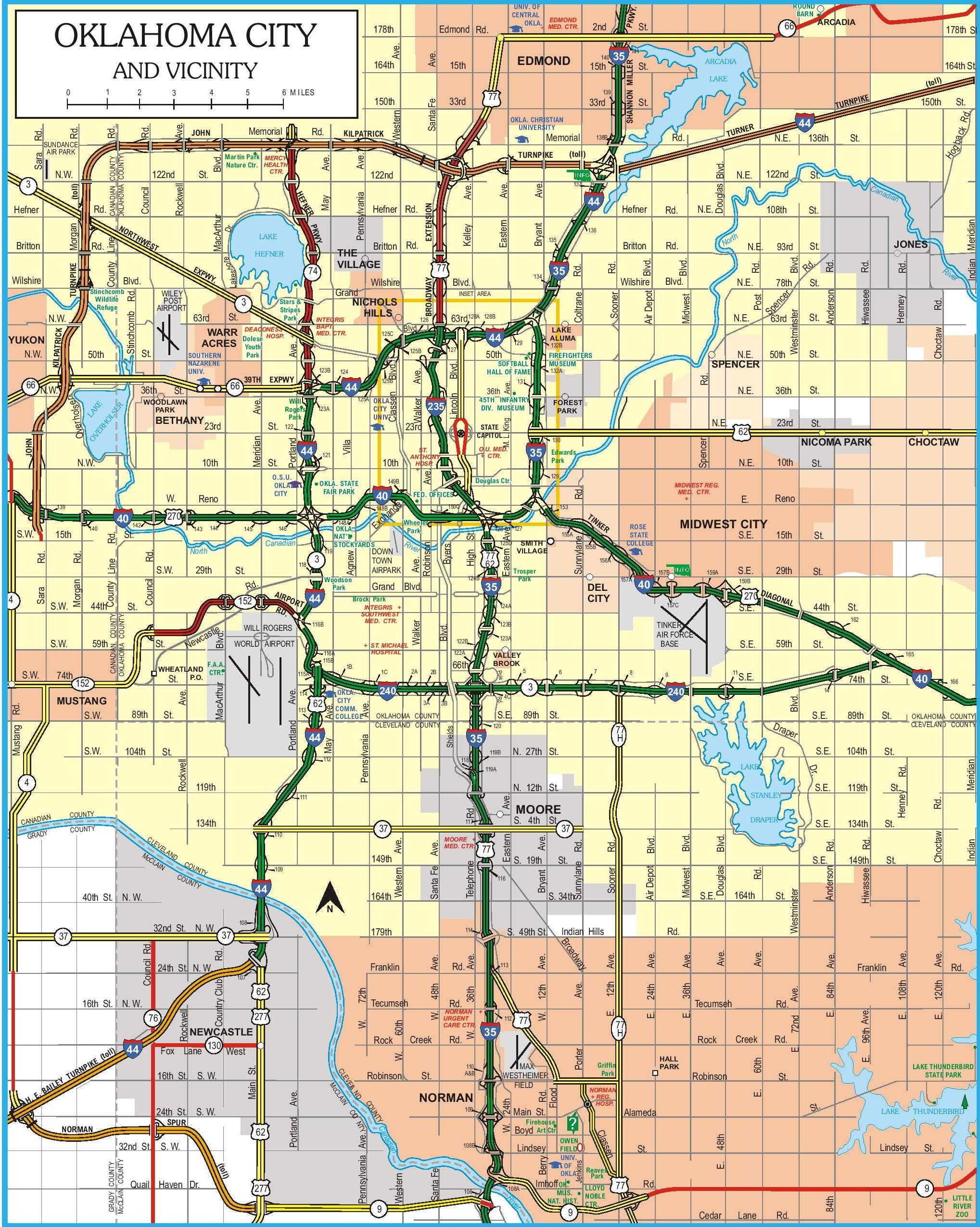Oklahoma City Map Oklahoma City road map Oklahoma City Map