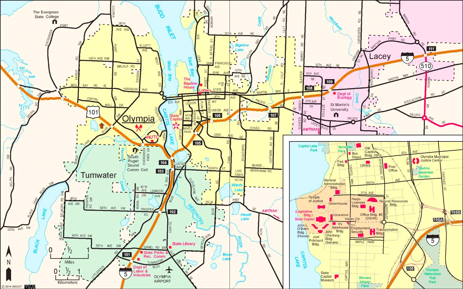 Olympia area road map