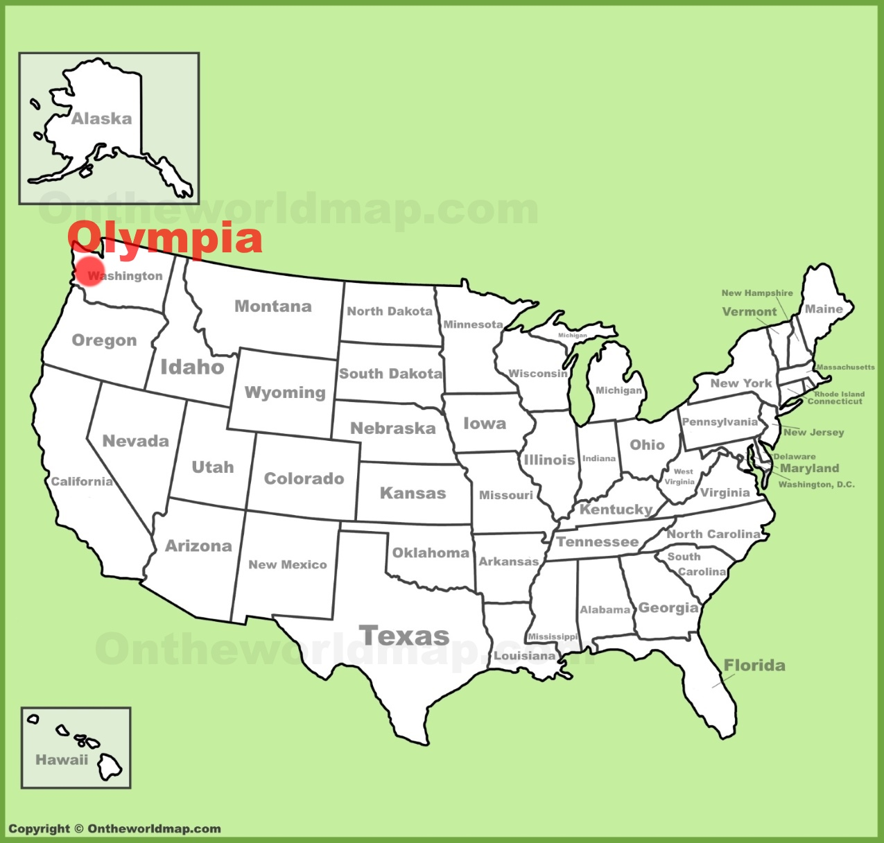 Olympia location on the US Map