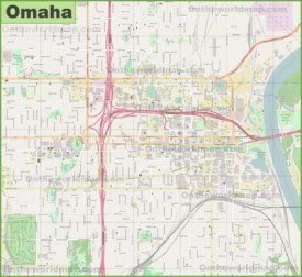 Large detailed map of Omaha