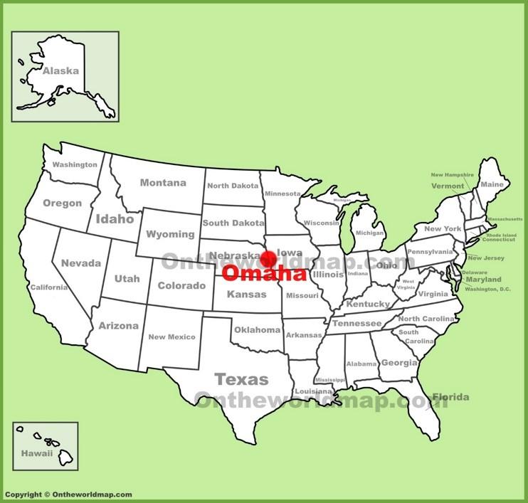 Omaha location on the U.S. Map