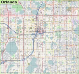 Large detailed street map of Orlando