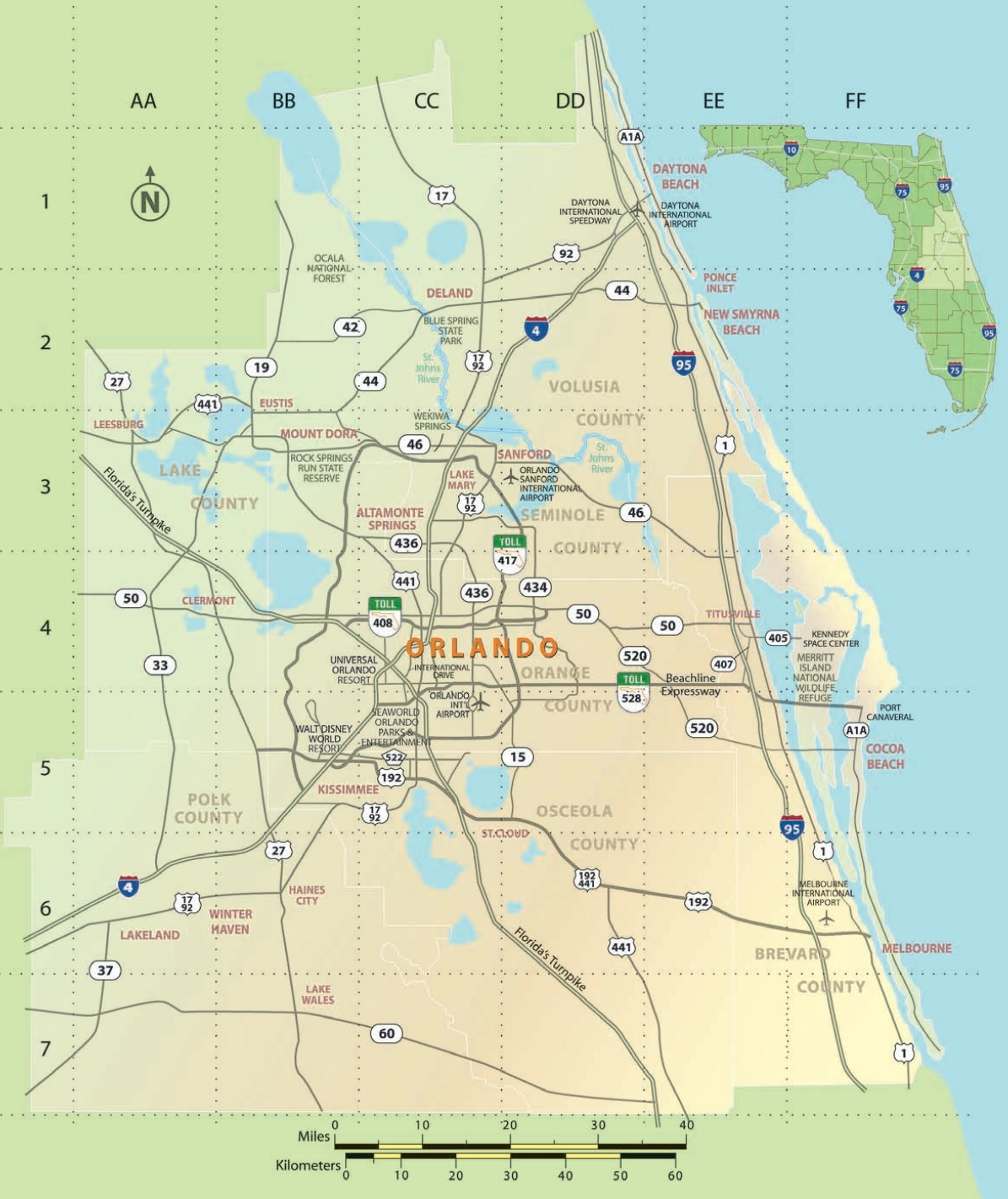 Map Of Orlando And Surrounding Towns Orlando area map