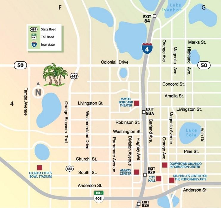 Downtown Orlando Map Orlando downtown map