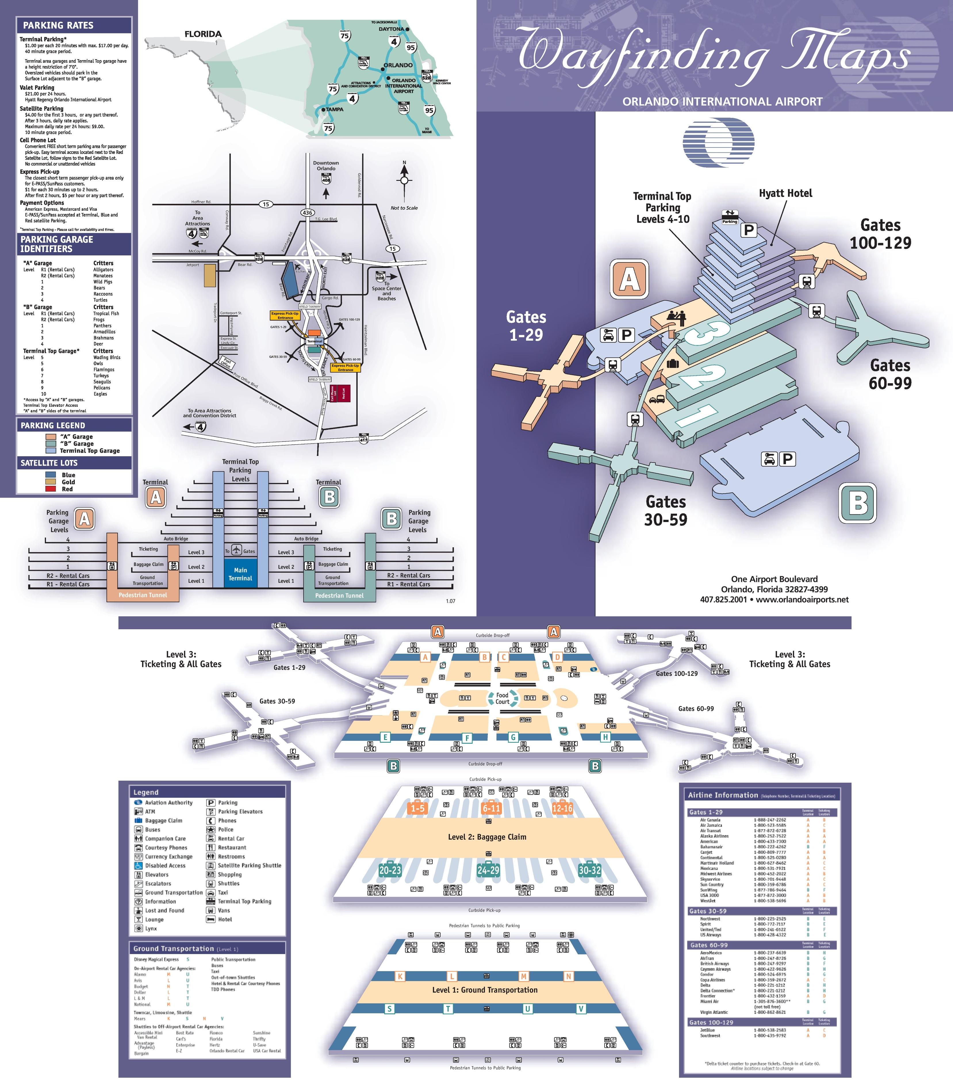 Orlando Airport Map Orlando International Airport map Orlando Airport Map
