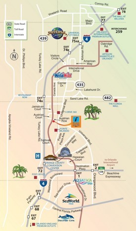 Orlando International Drive area map