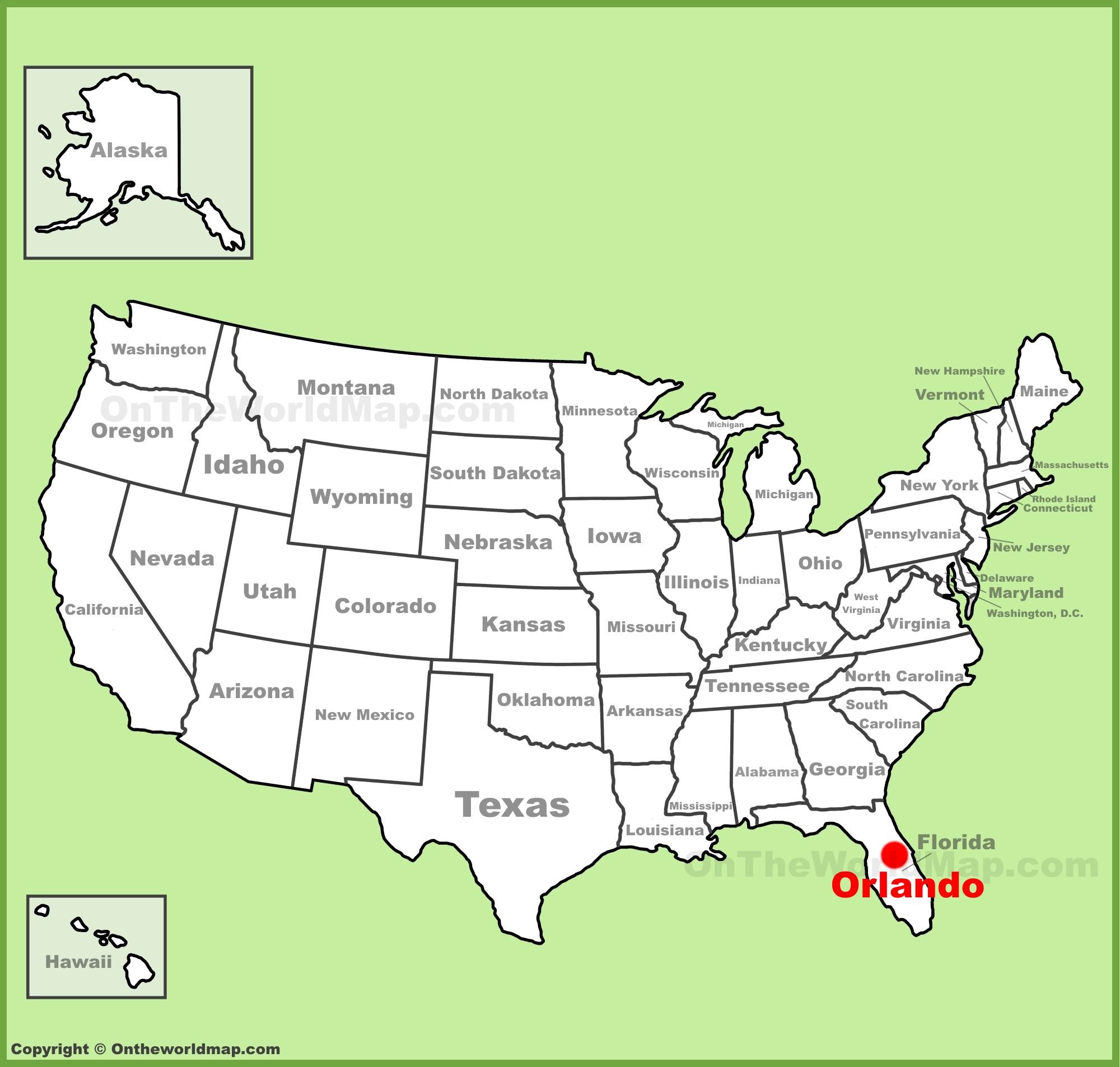 Orlando Florida Map Orlando location on the U.S. Map Orlando Florida Map