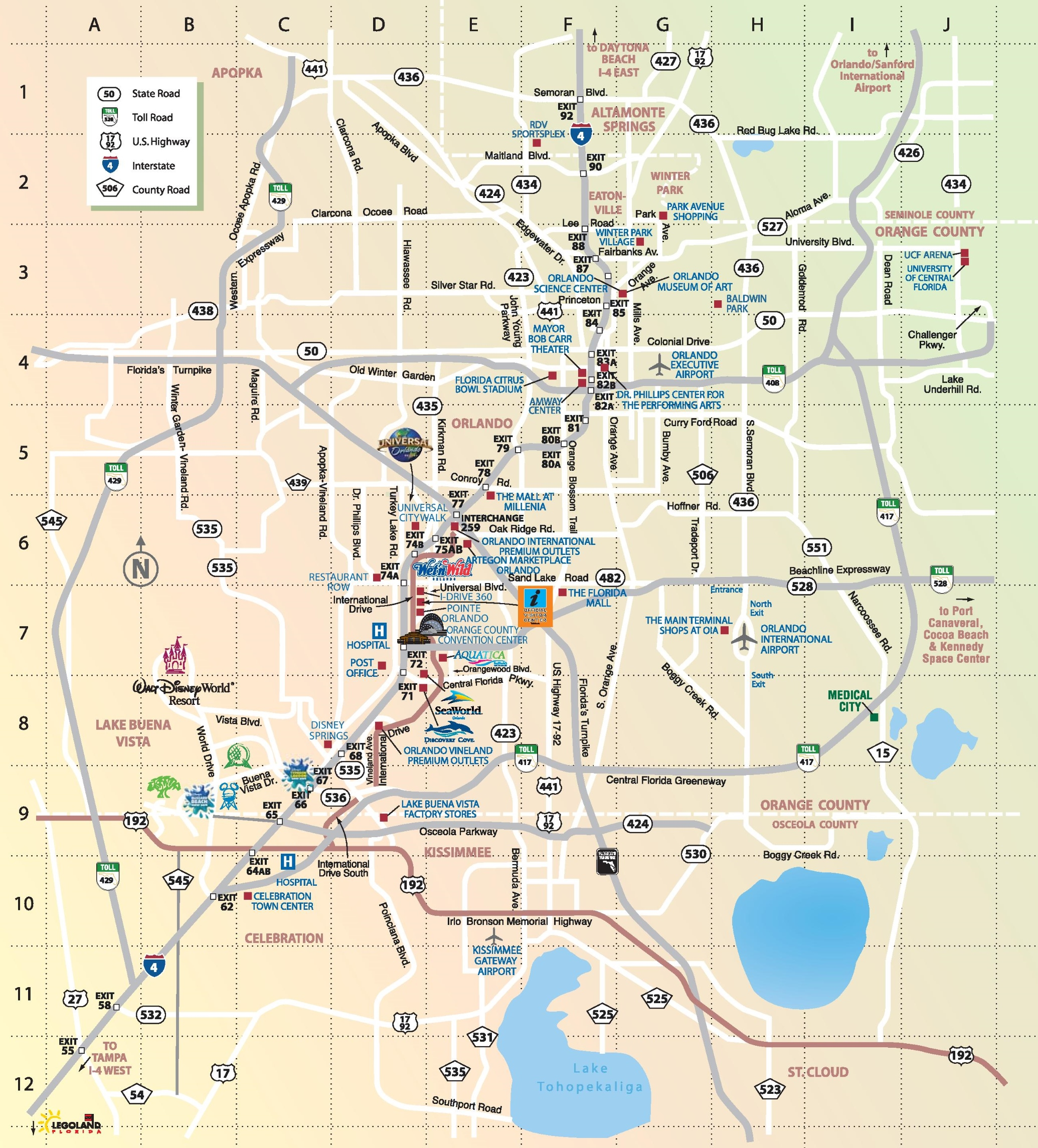 Orlando Maps Florida US – Tourist Attractions Map In Nebraska
