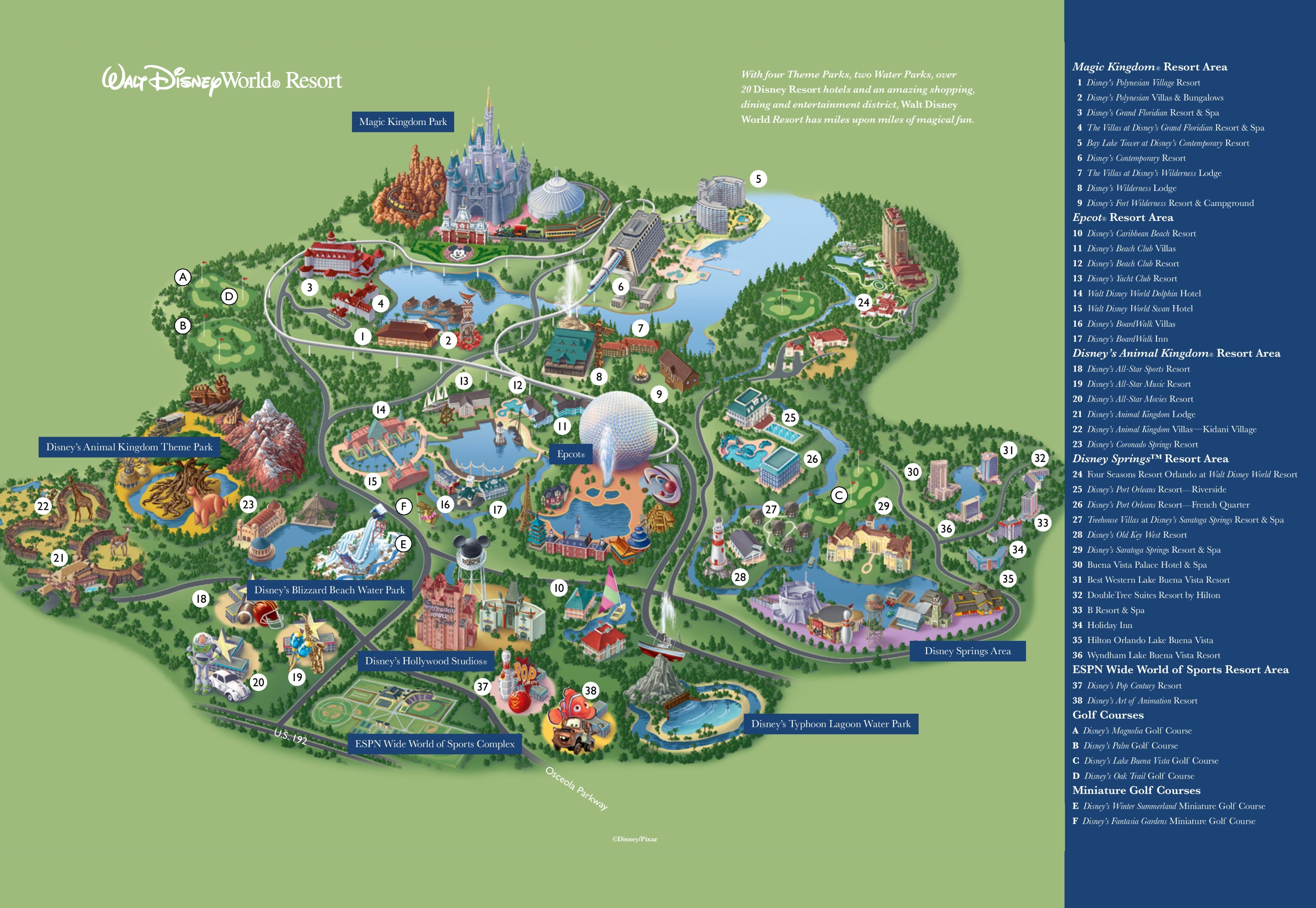 Walt Disney World Resort Map Orlando Walt Disney World Resort map