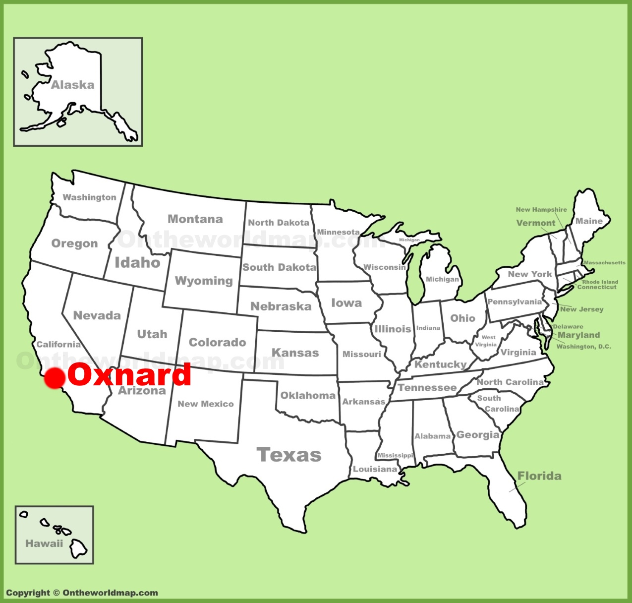 Oxnard location on the US Map