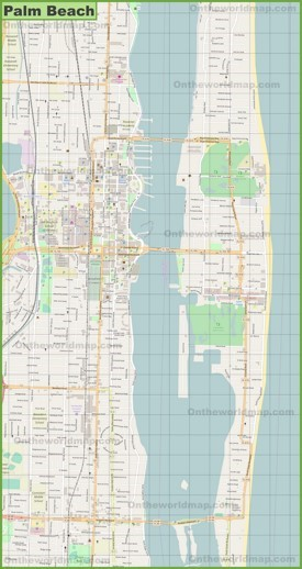 Large detailed map of Palm Beach