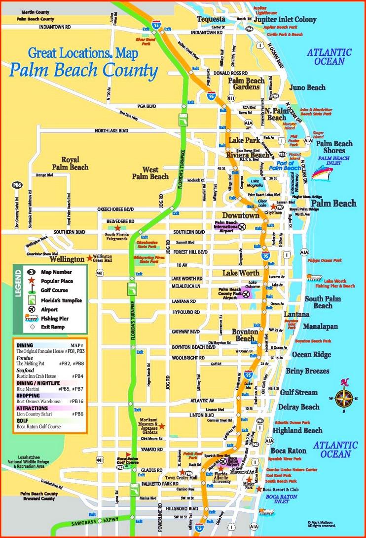 Palm Beach county tourist map