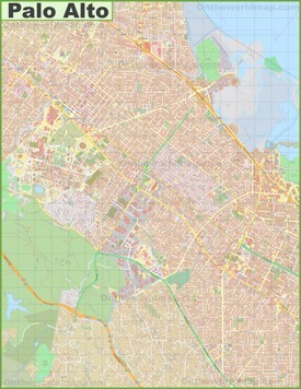 Large detailed map of Palo Alto