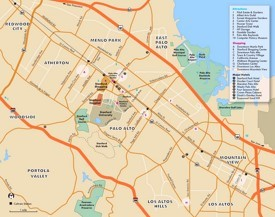 Palo Alto hotels and sightseeings map
