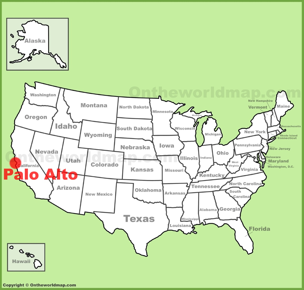 Palo Alto location on the US Map