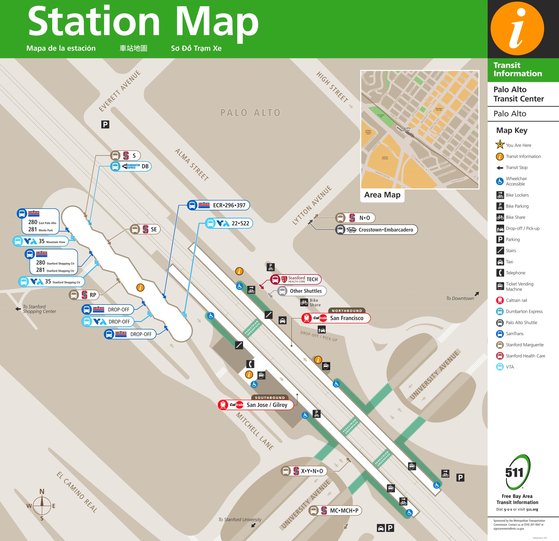 Palo Alto station map