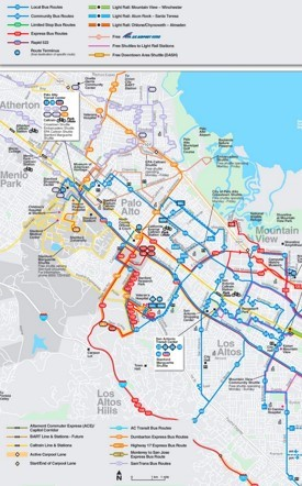 Palo Alto transport map