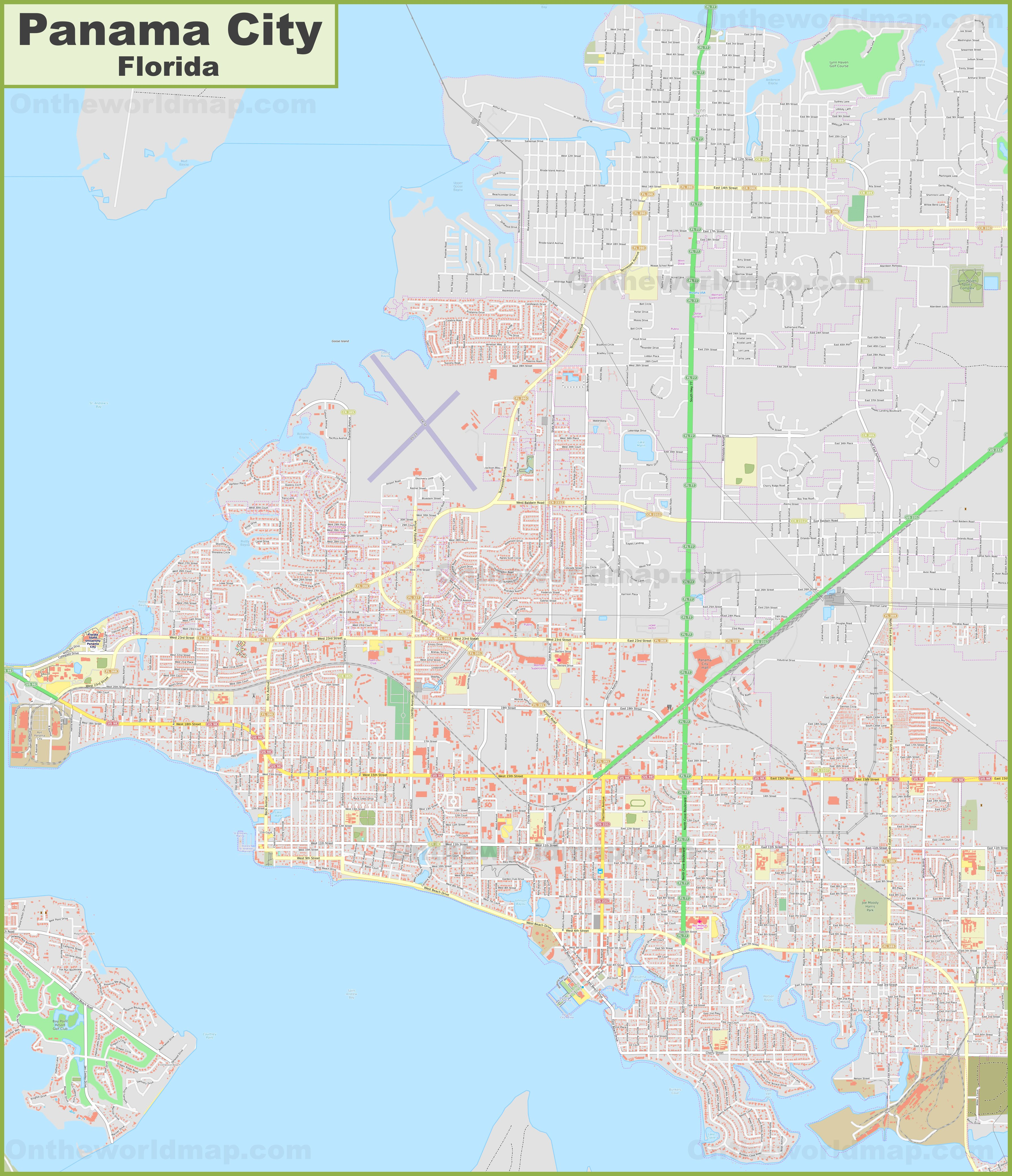 Large detailed map of Panama City (Florida)