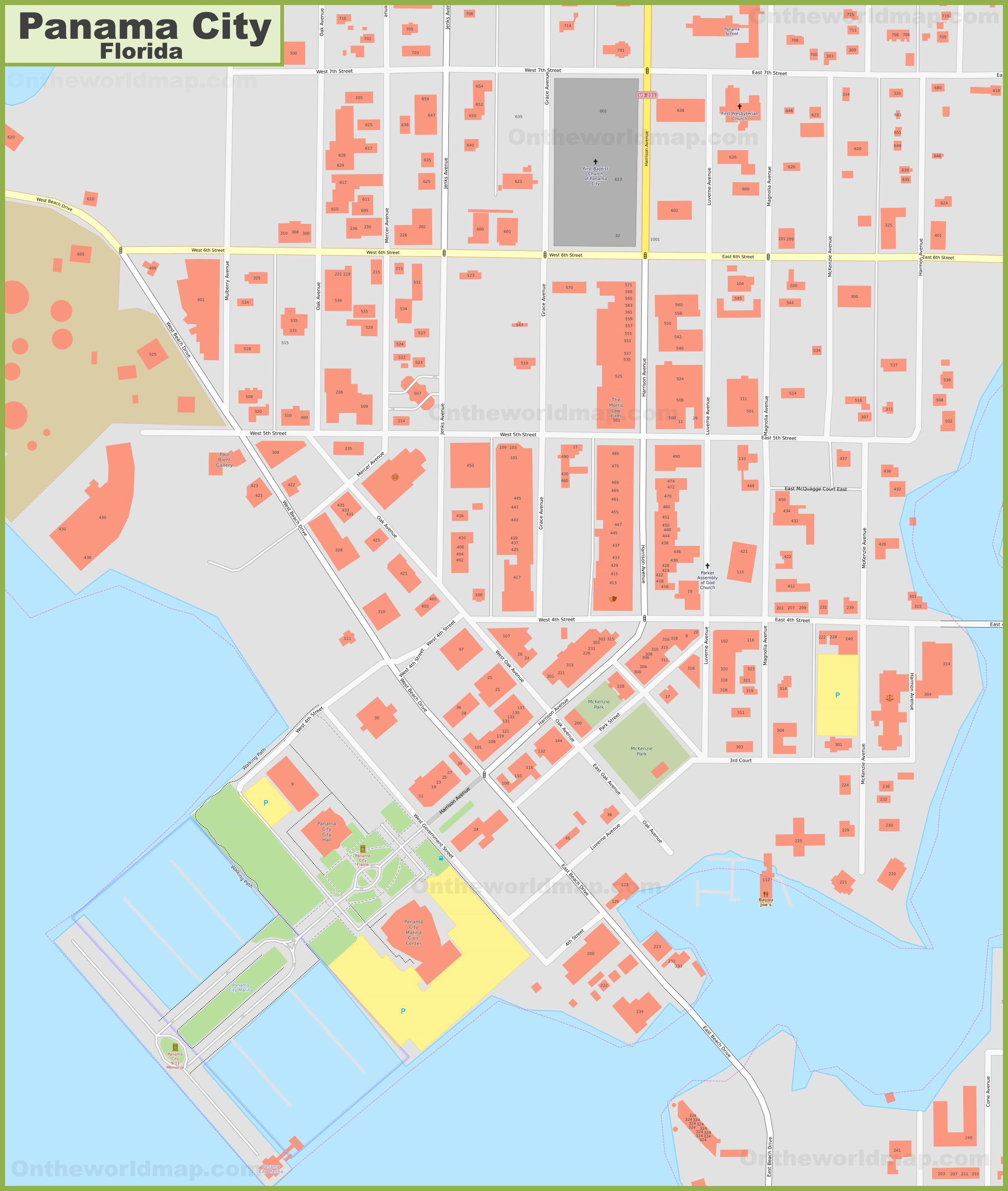 Panama City downtown map (Florida)