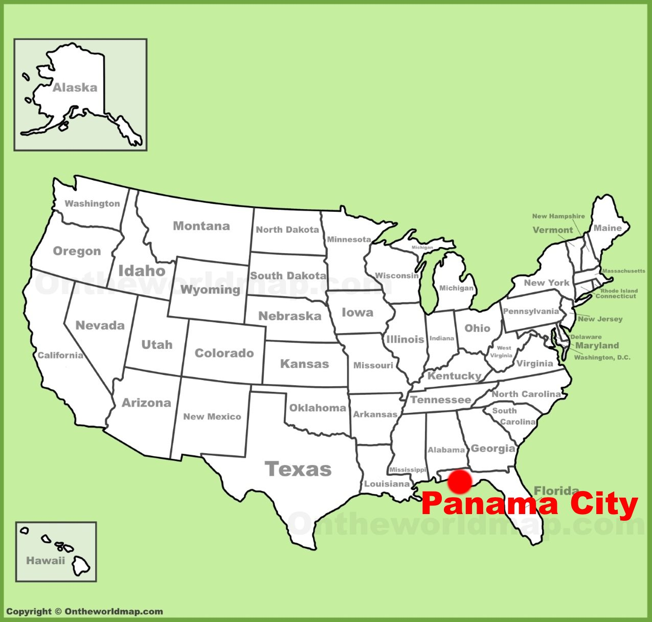 Panama City location on the U.S. Map
