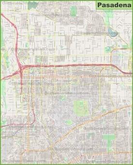 Large detailed map of Pasadena