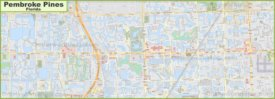 Large detailed map of Pembroke Pines