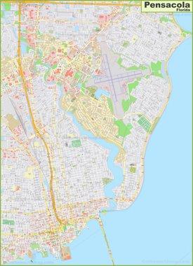 Large detailed map of Pensacola